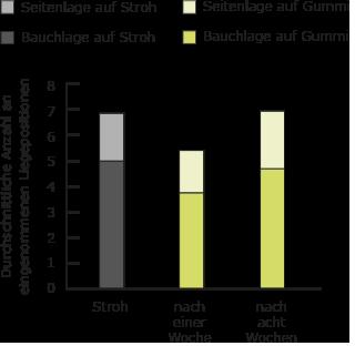 Liegepositionen während der Untersuchung - BELMONDO Trend Gummimatte im Vergleich zu Strohmatratze in der Pferdebox