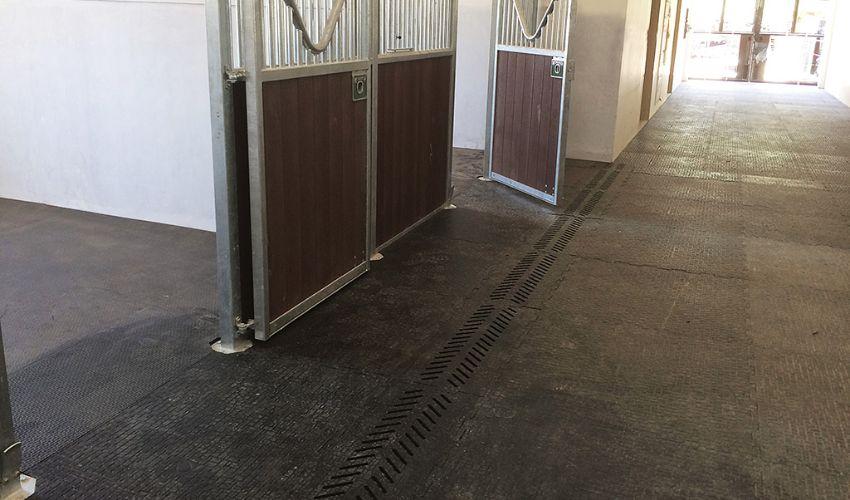 BELMONDO Walkpro Pferde-Stallmatte aus Gummi in der Stallgasse