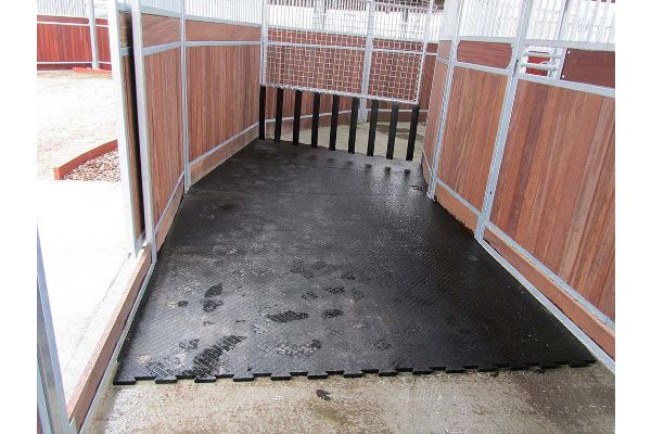 laying out BELMONDO Horsewalker rubber mats in horsewalker