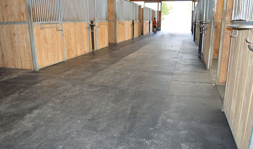 walkway with BELMONDO Walkpro slip proof and appealing rubber flooring for horse stables